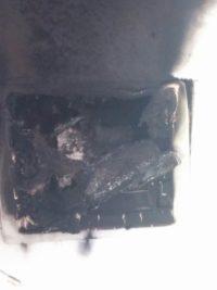 Innen verbrannter Sicherungskasten
