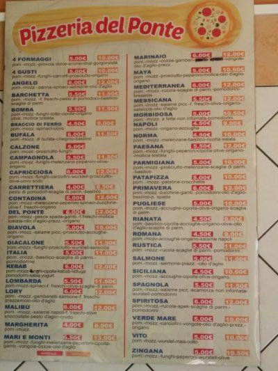 Preisliste der Pizzeria del Ponte