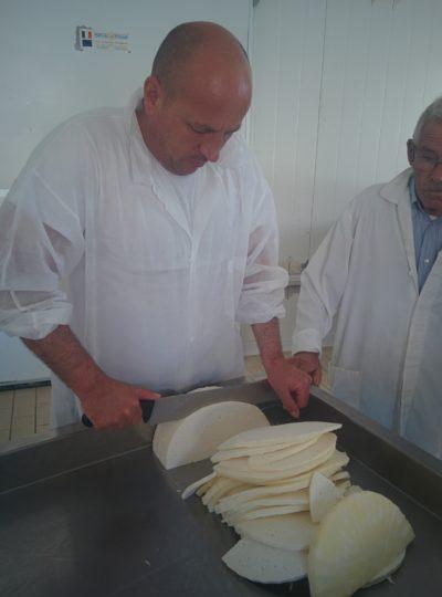 Schneiden des Käses für die Herstellung des Mozzarella