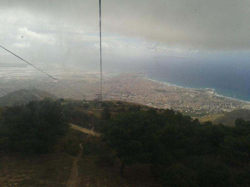 Blick aus der Gondel Richtung Erice über Trapani
